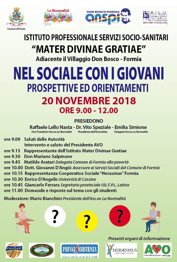 """Formia – L'A.I.L.U. patrocinia l'incontro """"Nel sociale con i giovani"""" (20/11/2018)"""